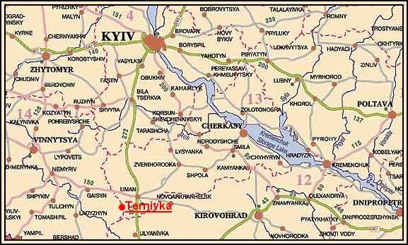 Ternivka on the map of Ukraine